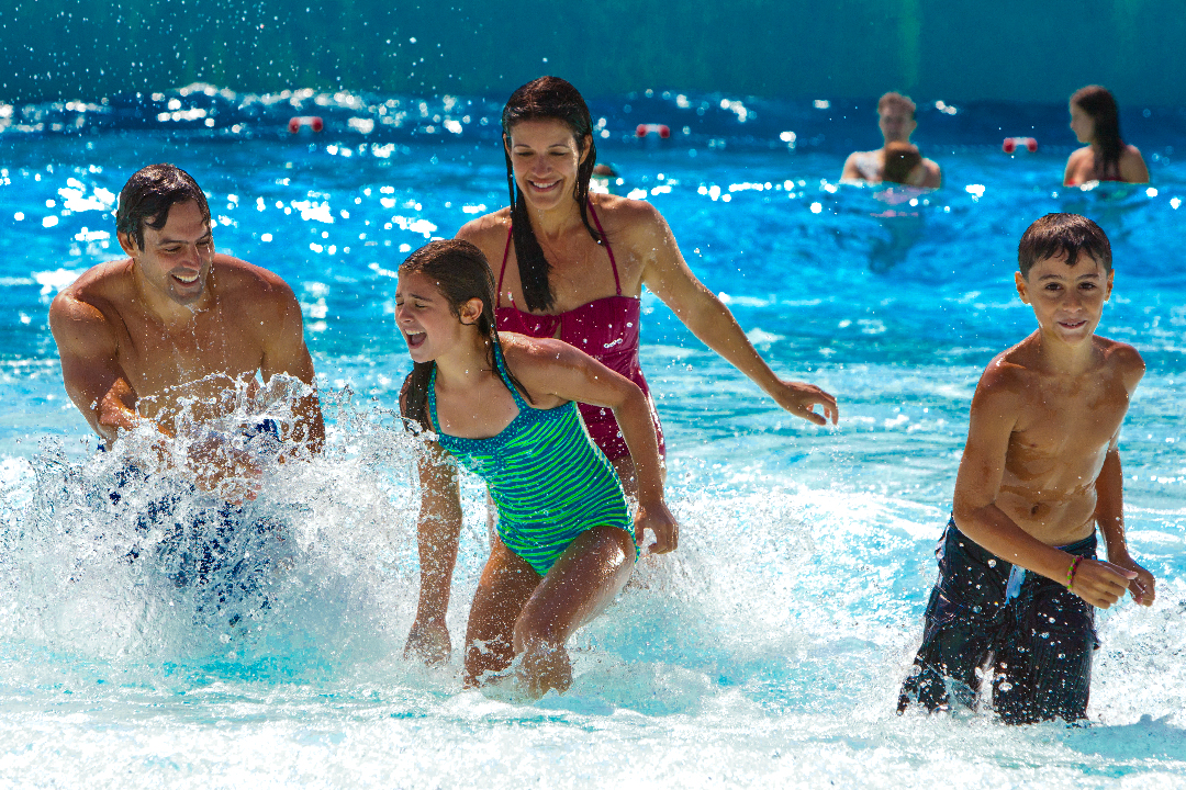 Family playing in Wavepool